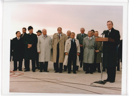 8 President Bush held a press conference after the Asia Pacific trip at the Andrews Air Force Base