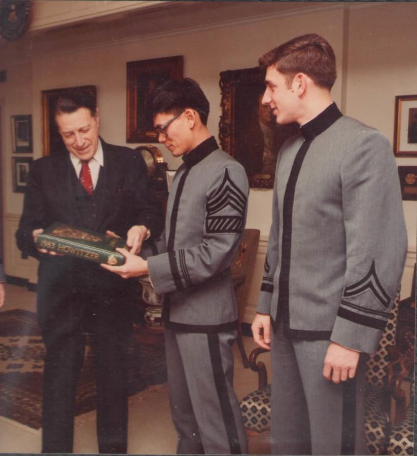 19840223 Pentagon w SecDef Caspar Weinberger & Cadet Jeff Girard