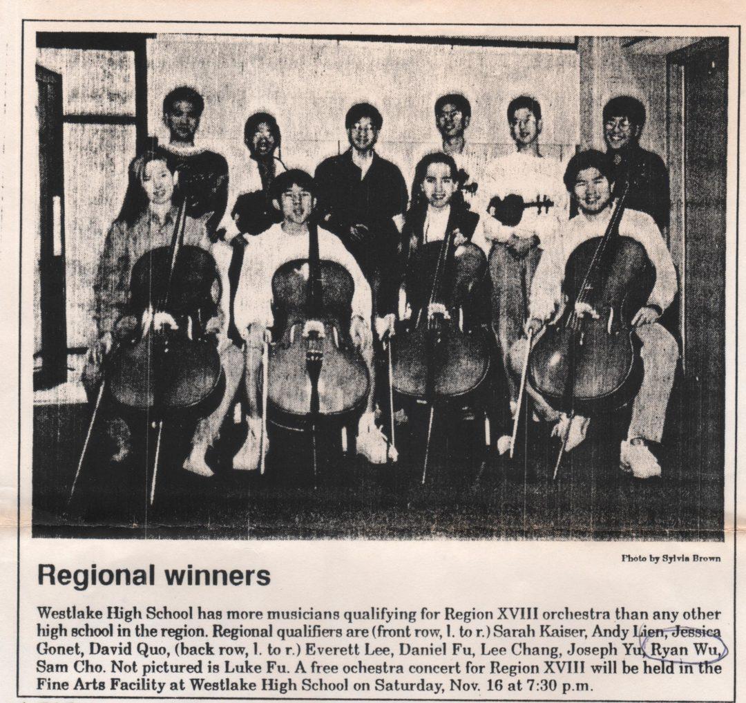 243_徳州奧斯汀台美人的第二代(1980's to 1990's) 1992 Region XIII orchestra winners at Westlake High School