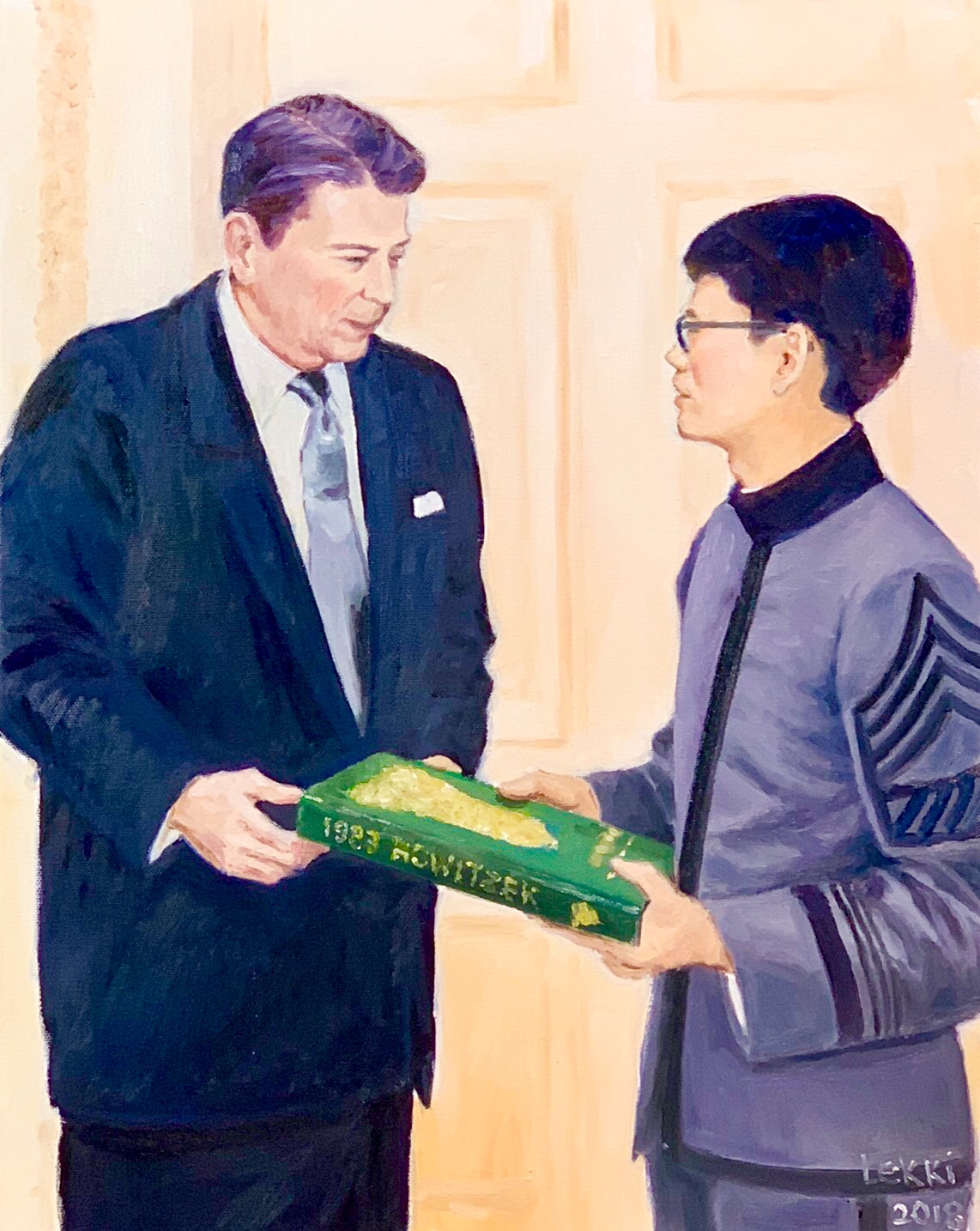 24. Dean Chang ( 張怡仁) Presenting the West Point Yearbook to President Reagan  By Artist ALekki Chua (蔡烈輝)/2018