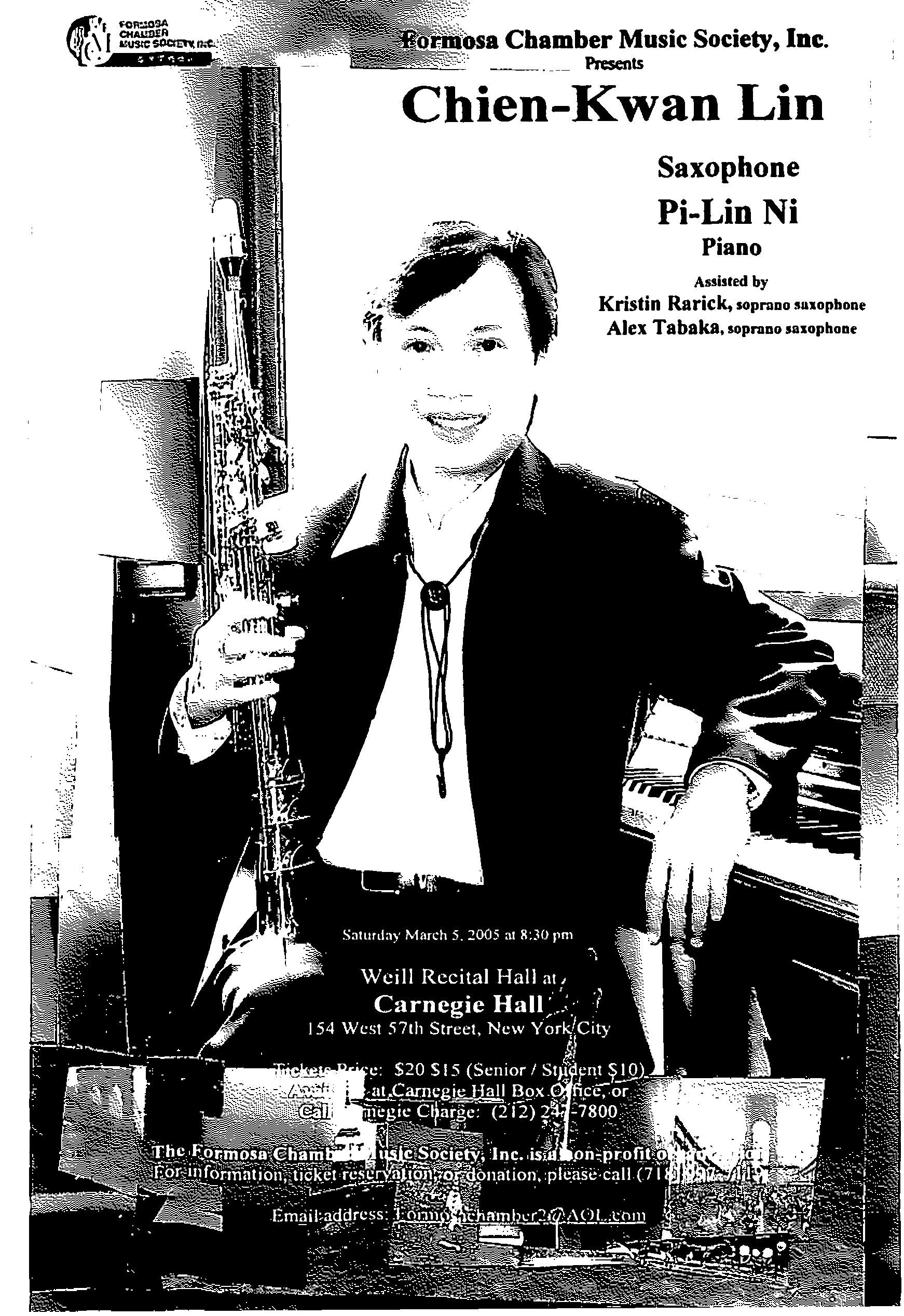 154. Formosa Chamber Music Society/Chien-Kwan Lin Saxophone/3/5/2005