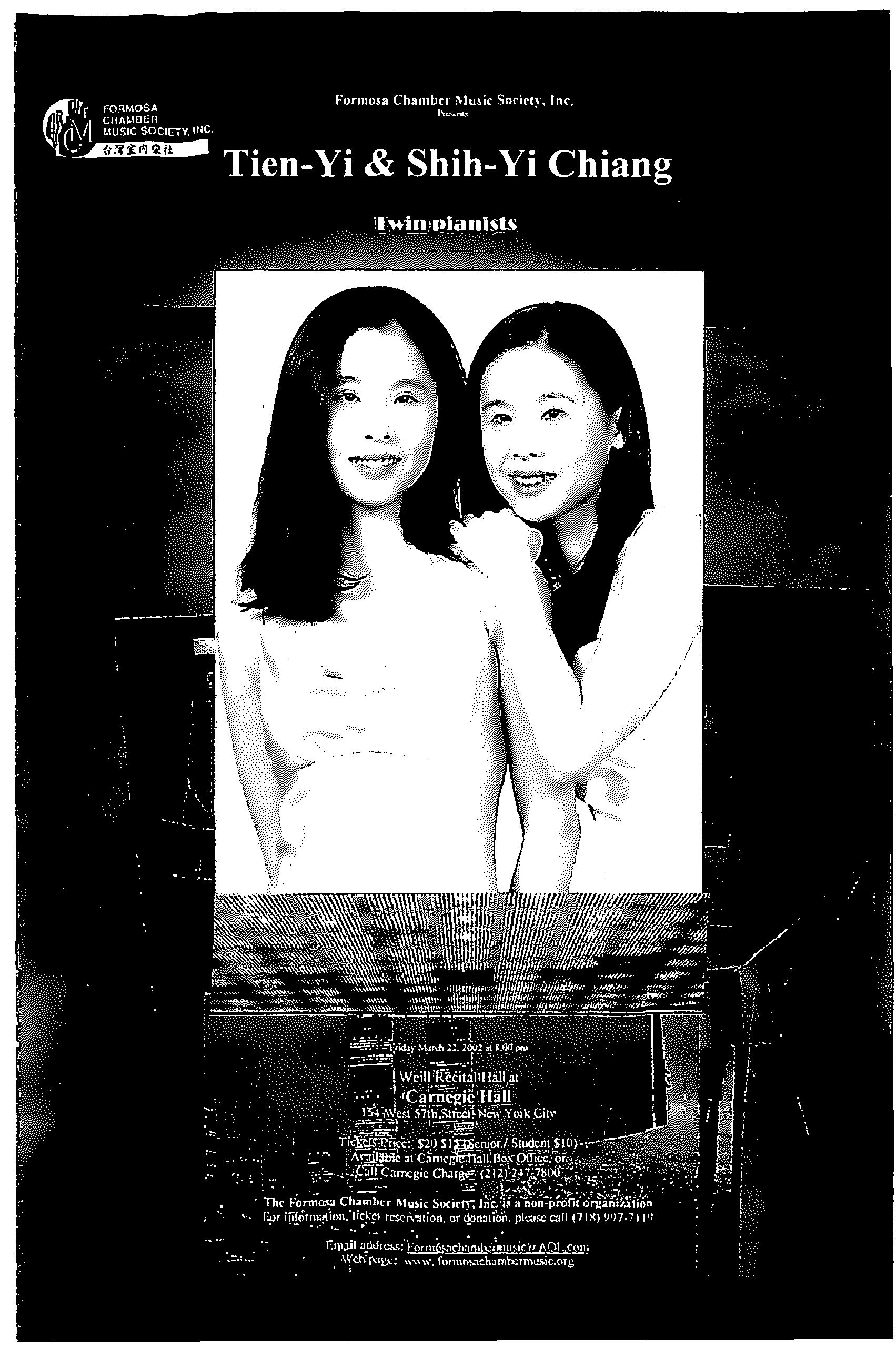 157. Formosan Chamber Music Society/Tien-Yi & Shih-Yi Chiang Twinpianists/3/22/2002
