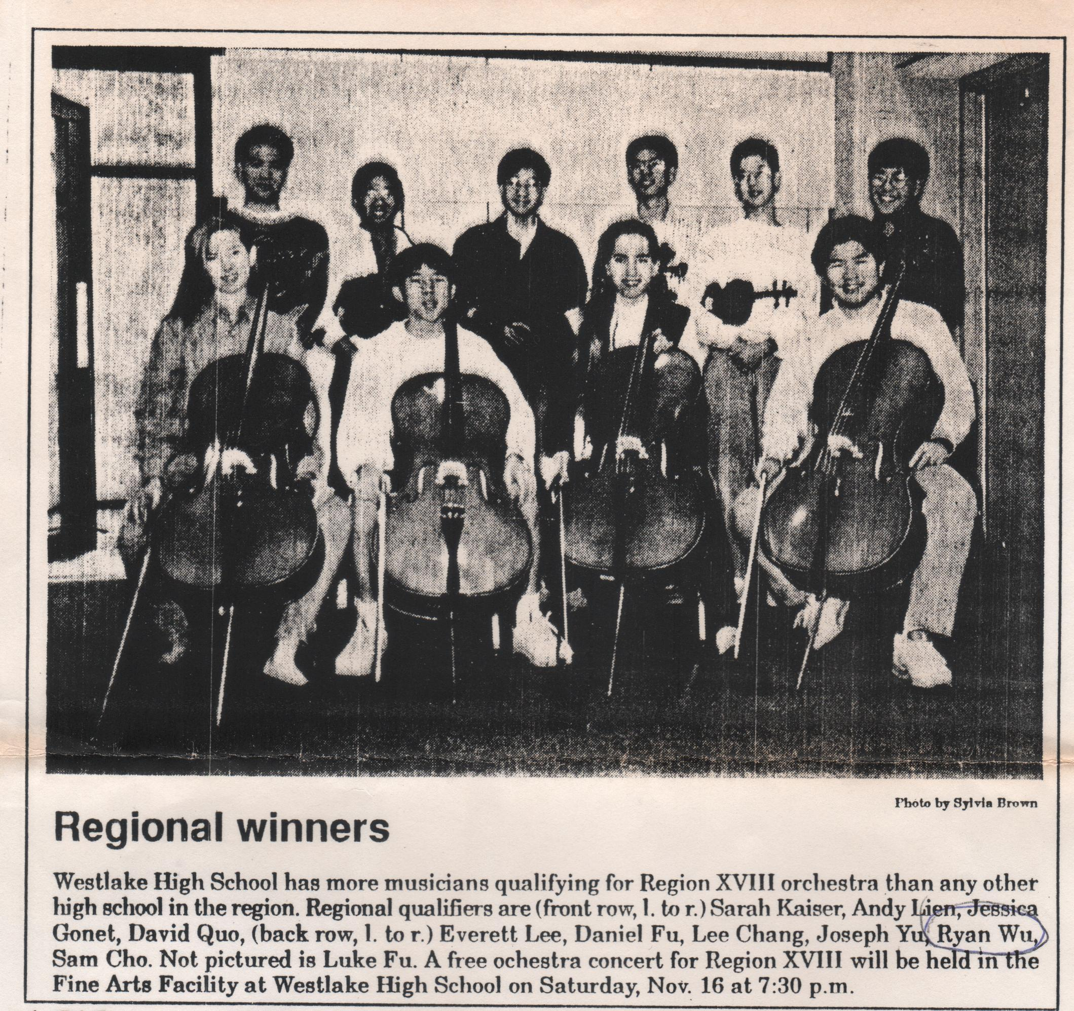 Region XIII orchestra winners at Westlake High School1990–from Weslake Picayune Newspaper