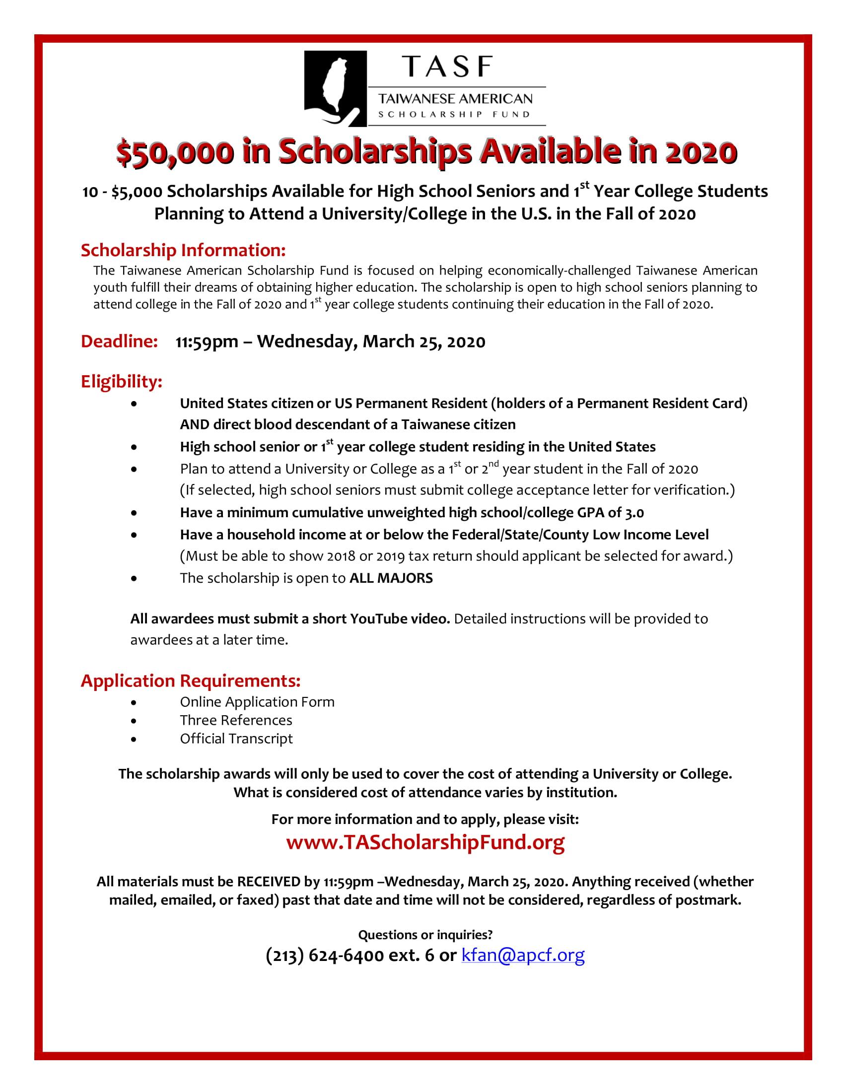 50. TASF Scholarship/2020